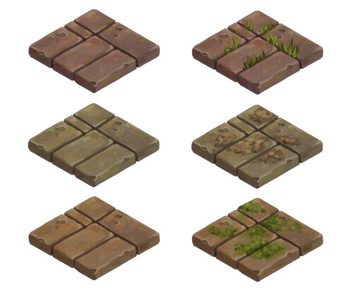 various brick tiles